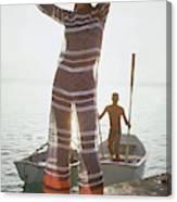 Veruschka Von Lehndorff Wearing Jumpsuit Canvas Print