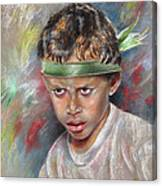 Very Young Maori Warrior From Tahiti Canvas Print