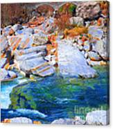 Vibrant Colored Rocks Verzasca Valley Switzerland II Canvas Print