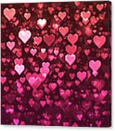Vibrant Pink And Red Bokeh Hearts Canvas Print