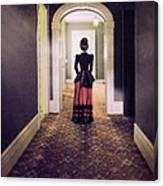 Victorian Lady In Hallway Canvas Print