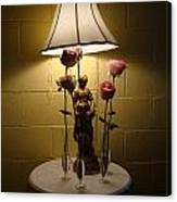 Victorian Lamp And Roses Canvas Print