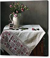 Victorian Style Still Life With Pink Roses Canvas Print