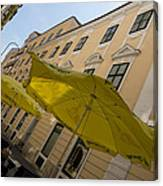 Vienna Street Life - Cheery Yellow Umbrellas At An Outdoor Cafe Canvas Print