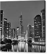 View Down The Chicago River Canvas Print