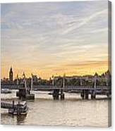 View From Waterloo Bridge Along The River Thames In London Canvas Print