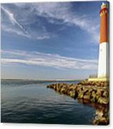 View Of A Red And White Lighthouse Canvas Print