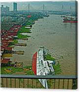 View Of A Ship On Its Side From A Bridge Near Bangkok-thailand Canvas Print