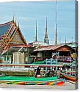 View Of A Temple From Waterway Of Bangkok-thailand Canvas Print