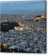 View Of Athens During Dawn Canvas Print