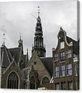 View Of Bell Tower Oude Kerk Amsterdam Canvas Print