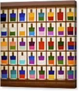 View Of Bottles Used In Aura Soma Colour Therapy Canvas Print