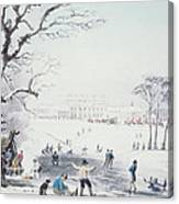 View Of Buckingham House And St James Park In The Winter Canvas Print
