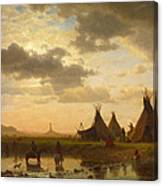 View Of Chimney Rock Ohalila .sioux Village In The Foreground Canvas Print