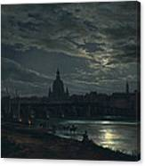 View Of Dresden By Moonlight Canvas Print