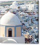 View Of Fira With Famous Church Santorini Greece Canvas Print