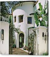 View Of House With Open Gate Canvas Print