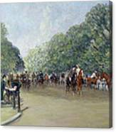 View Of Hyde Park With Figures On Rotten Row  Canvas Print
