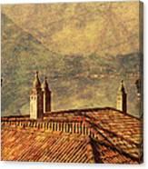 View Of Lake Como Over The Rooftop Of Villa Monastero Canvas Print