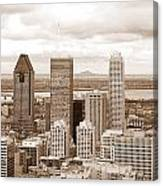 View Of Montreal In Sepia Canvas Print