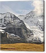 View Of Mt Eiger And Mt Monch, Kleine Canvas Print