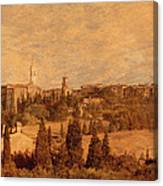 View Of Pienza And The Tuscan Landscape Canvas Print