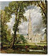 View Of Salisbury Cathedral From The Bishop's Grounds Canvas Print