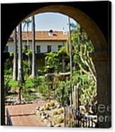 View Of Santa Barbara Mission Courtyard Canvas Print