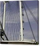View Of Spokes Of The Singapore Flyer Along With The Base Section Canvas Print