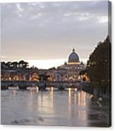 View Of St Peter's Basilica And Saint Angel Bridge Canvas Print