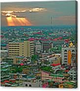View Of Sun Setting Over Bangkok Buildings From Grand China Princess Hotel In Bangkok-thailand Canvas Print