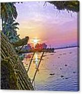View Of Sunrise From A Houseboat Canvas Print