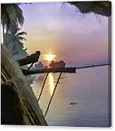 View Of Sunrise From Boat Canvas Print