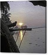 View Of Sunrise From The Window Of A Houseboat Canvas Print