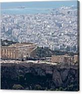 View Of The Acropolis From Lykavittos Hill Canvas Print