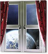 View Of The Earth Through A Window With Curtains Canvas Print