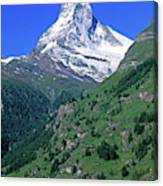 View Of The Matterhorn And The Town Canvas Print