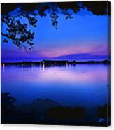 View Of The Night Lake Canvas Print