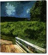 View Of The Night Sky From The Old Bridge Canvas Print