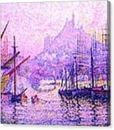 View Of The Port Of Marseilles Enhanced Color Iv Canvas Print