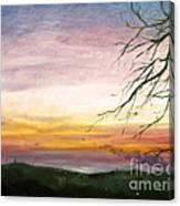 View Of The Valley At Dusk Canvas Print