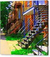 View Of Verdun Steps Stairs Staircases Winding Through Summer  Montrealstreet Scenes Carole Spandau Canvas Print