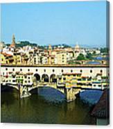 View On Ponte Vecchio From Uffizi Gallery Canvas Print