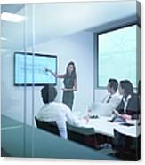 View Through Glass Wall Of Business Canvas Print