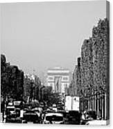 View Up The Champs Elysees Towards The Arc De Triomphe In Paris France  Canvas Print