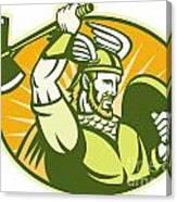 Viking Raider Barbarian Warrior Retro Canvas Print