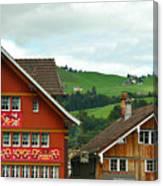 Hotel Santis And Hillside Of Appenzell Switzerland Canvas Print