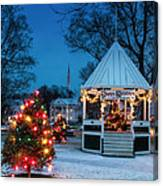 Village Green Holiday Greetings- New Milford Ct - Canvas Print