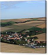 Village In A French Landscape  Canvas Print