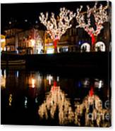 Village Reflected In The Water Canvas Print